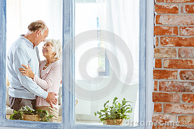 Seniors looking at each other Stock Photo