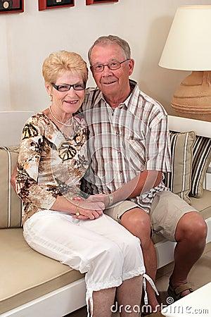Happy seniors at home