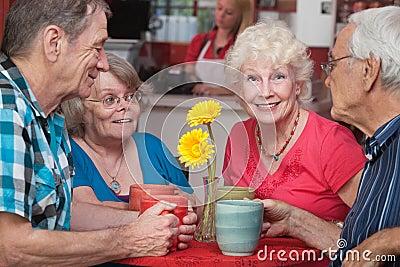 Happy Seniors at Restaurant