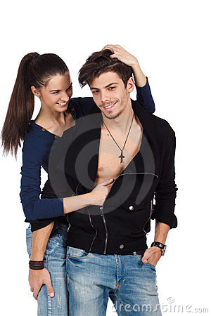 Happy sensual young couple playing