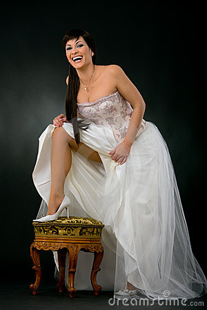Happy sexy bride