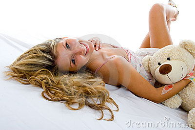 Happy sexy girl with teddy bear