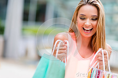 Happy shopping girl