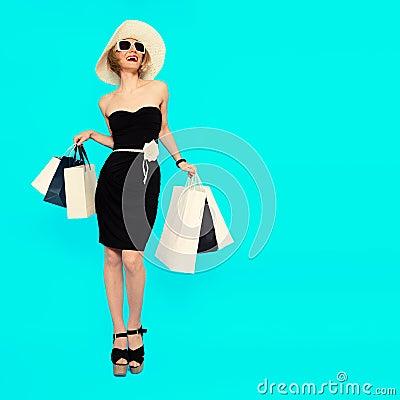 Free Happy Shopping. Glamorous Summer Lady Royalty Free Stock Photos - 58940318