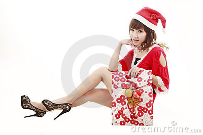 Happy Shopping Santa Girl Royalty Free Stock Photos - Image: 12207638