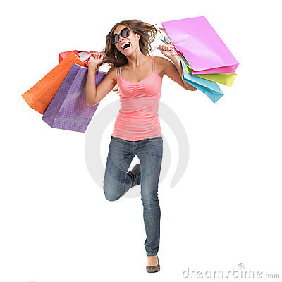 Free Happy Shopping Woman Running Stock Photography - 12360752