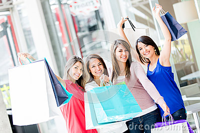 Happy shopping women