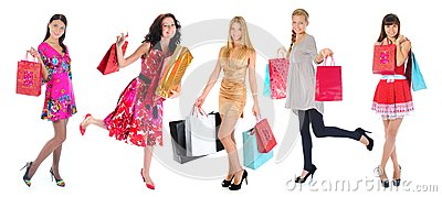 Happy shopping women Stock Photo