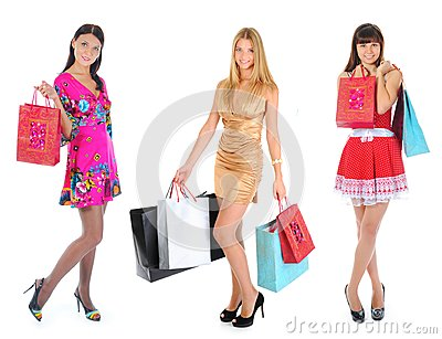 Happy shopping women Stock Photo