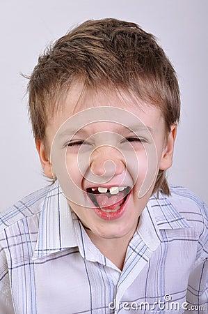 Happy shouting boy