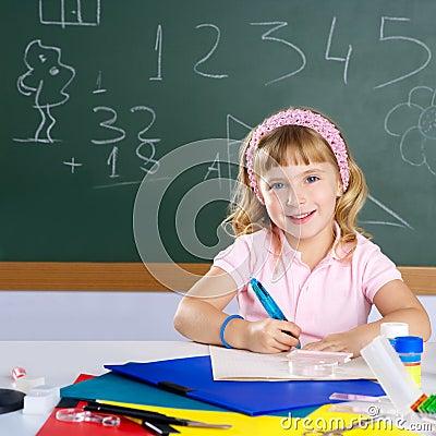 Happy similing children student girl at school