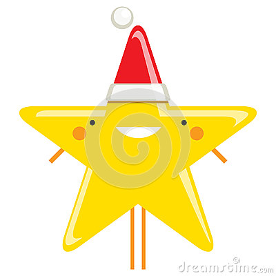 Happy simple cartoon smiling Christmas star Santa Claus characte