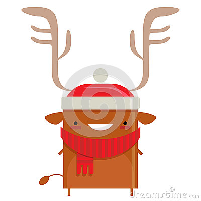 Happy simple smiling Santa Claus reindeer cartoon character