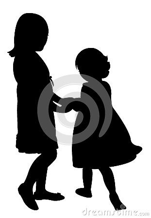 Free Happy Sisters Playing, Silhouette Vector Stock Photos - 32086163