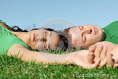 Happy sleeping couple in love