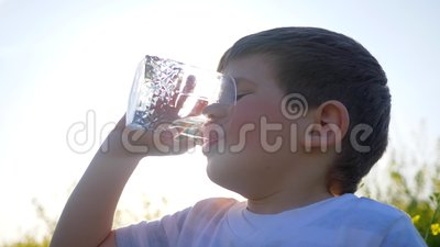 Happy small guy drink clean water on nature on background field flowers, little boy drinking from glass outdoors,child. In backlight on meadow in grass, cute stock video footage