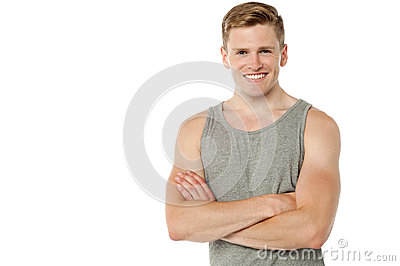 Happy smart guy over white background