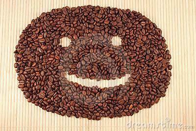 Happy smile from coffee beans.