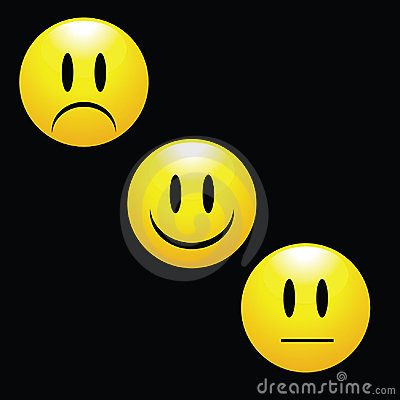 Happy Smile Sad Faces Badge Emoticon Stock