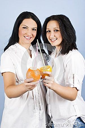 Happy smile women with fresh  citrus fruits