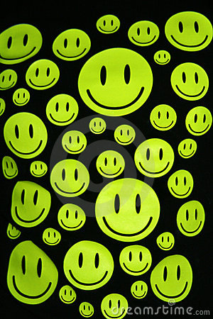 Happy smiles over black background