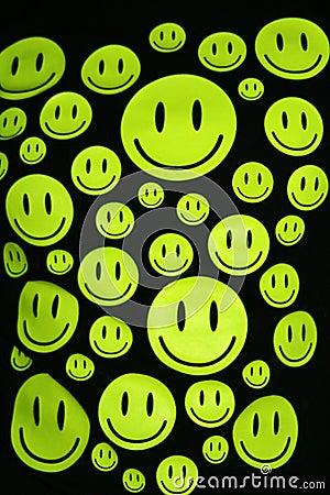 Happy smiles over black background