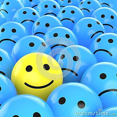 Free Happy Smiley Between Sad Ones Royalty Free Stock Photos - 10619228