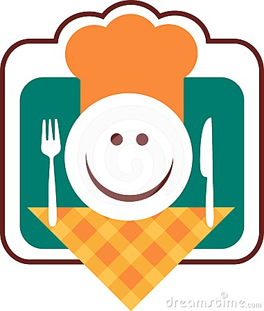 Happy smiley chef face with fork and knife