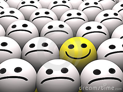 A happy smiley in a crowd of sad smileys