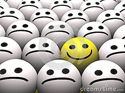 A happy smiley in a crowd of sad smileys