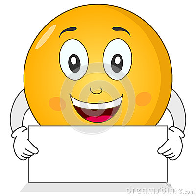 Happy Smiley Emoticon with Blank Sign
