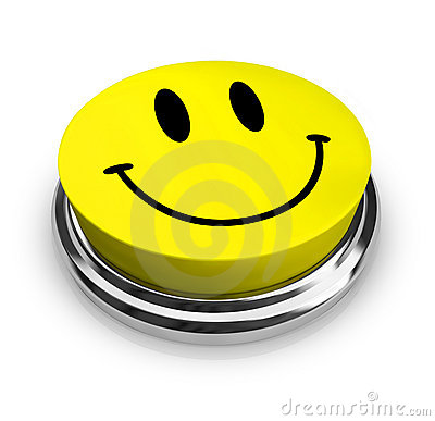 Happy Smiley Face - Yellow Button