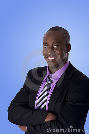 Happy smiling African American business man
