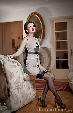 Happy Smiling Attractive Woman Wearing An Elegant Dress ...