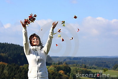 Happy smiling autumn girl