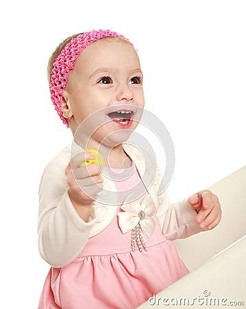 Happy smiling baby infant in the studio