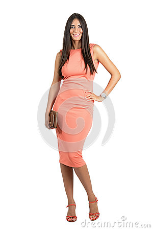 Free Happy Smiling Beauty In Elegant Evening Dress Holding Bag Posing At Camera Royalty Free Stock Photos - 59658418