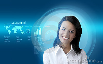Happy smiling brunette futuristic interface