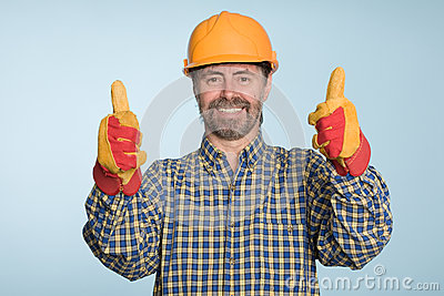 Happy smiling builder
