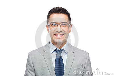 Happy smiling businessman in eyeglasses and suit Stock Photo