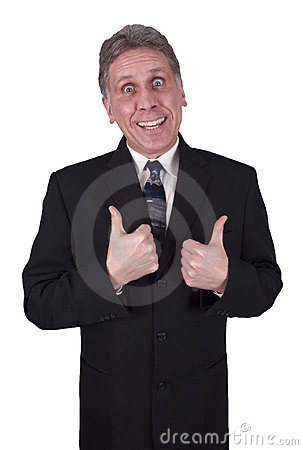 Happy Smiling Businessman Man Thumbs Up Isolated Stock Photo