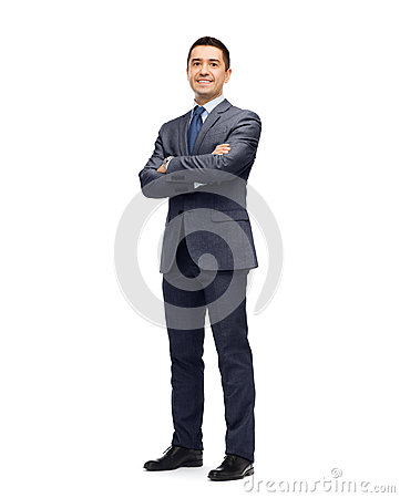 Happy smiling businessman in suit Stock Photo