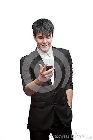 Happy smiling businessman using cell phone