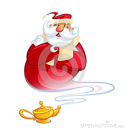 Happy smiling cartoon genie Santa Claus coming out of a magic oi