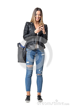 Free Happy Smiling Casual Street Style Girl Typing On The Cellphone Stock Image - 80527201