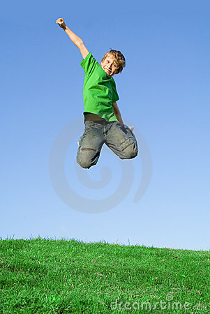 Free Happy Smiling Child Jumping Free Stock Photography - 2279192