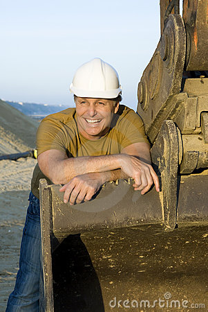 Happy smiling construction worker.