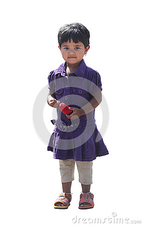 Happy and smiling cute young girl(kid) isolated on white