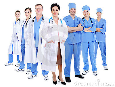 Happy smiling doctors and surgeons