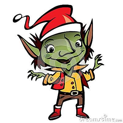 Happy smiling Elf Santa Claus cartoon character